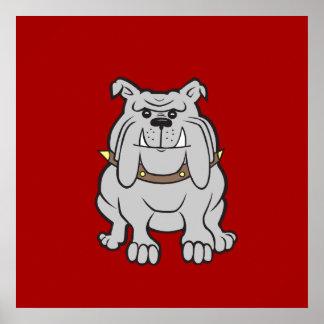 Mascota de los dogos en los regalos rojos del aman poster