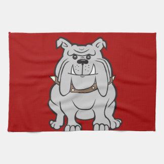 Mascota de los dogos en los regalos rojos del aman toalla de cocina