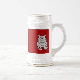 Mascota de los dogos en los regalos rojos del aman taza