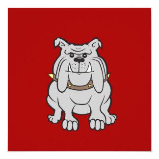 """Mascota de los dogos en los regalos rojos del invitación 5.25"""" x 5.25"""""""