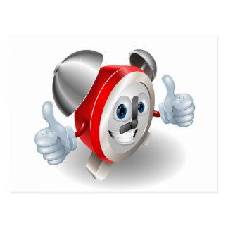 Mascota del carácter del despertador postales