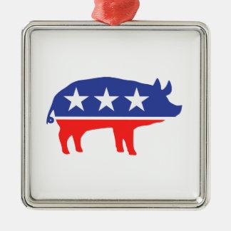 Mascota del cerdo del fiesta político adorno cuadrado plateado