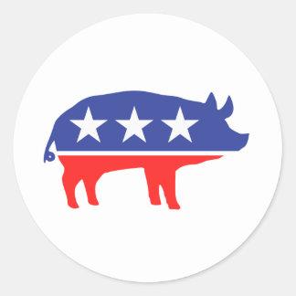 Mascota del cerdo del fiesta político pegatina redonda