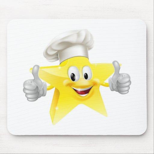 Mascota del cocinero de la estrella alfombrillas de raton
