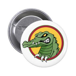 Mascota del cocodrilo pin redondo de 2 pulgadas