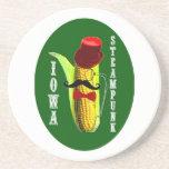 mascota del corncob del steampunk de Iowa Posavasos Diseño