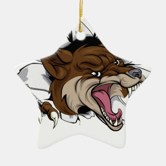Mascota del coyote que rasga hacia fuera adorno navideño de cerámica en forma de estrella