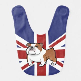 Mascota del dibujo animado con la bandera babero para bebé