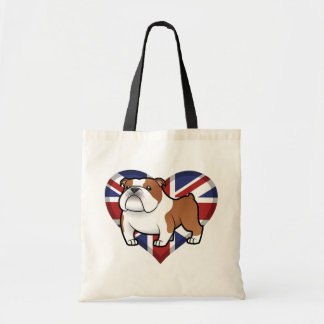 Mascota del dibujo animado con la bandera bolsa