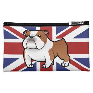 Mascota del dibujo animado con la bandera