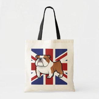 Mascota del dibujo animado con la bandera bolsas de mano
