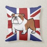 Mascota del dibujo animado con la bandera cojín