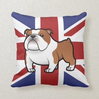 Mascota del dibujo animado con la bandera cojines