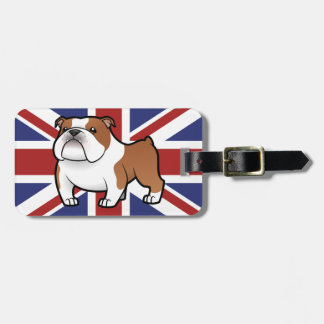 Mascota del dibujo animado con la bandera etiquetas bolsas