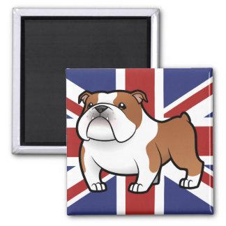 Mascota del dibujo animado con la bandera iman