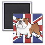 Mascota del dibujo animado con la bandera imán cuadrado