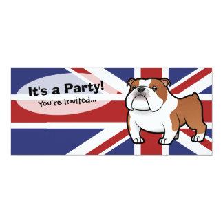 Mascota del dibujo animado con la bandera invitación 10,1 x 23,5 cm