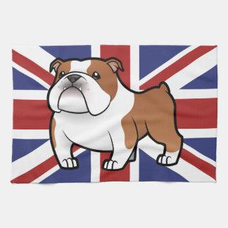 Mascota del dibujo animado con la bandera toallas de mano