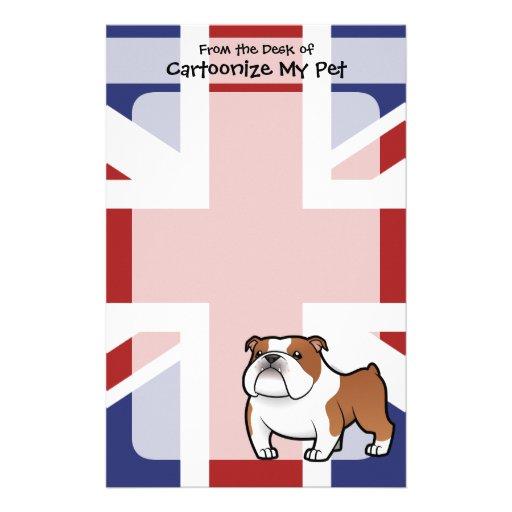 Mascota del dibujo animado con la bandera papelería de diseño