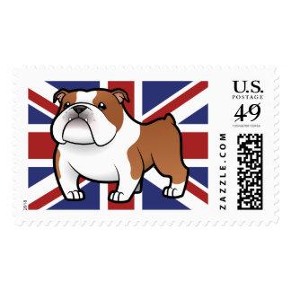 Mascota del dibujo animado con la bandera sello