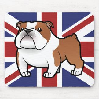 Mascota del dibujo animado con la bandera tapete de ratón