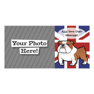 Mascota del dibujo animado con la bandera tarjetas fotográficas personalizadas