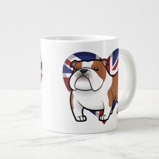 Mascota del dibujo animado con la bandera tazas extra grande