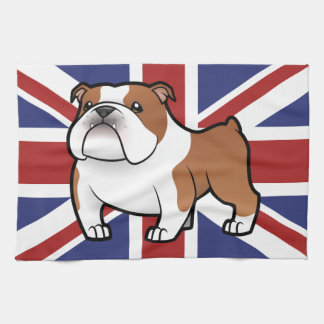 Mascota del dibujo animado con la bandera toallas de cocina