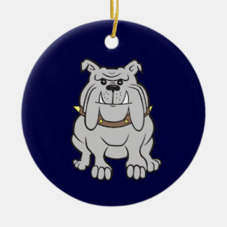 Mascota del dogo en azul ornamento para arbol de navidad