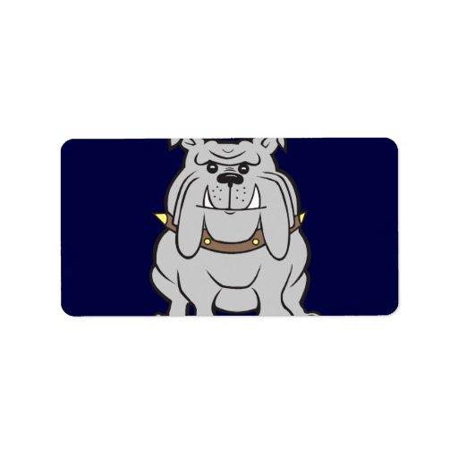 Mascota del dogo en azul etiquetas de dirección