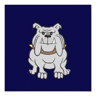 Mascota del dogo en azul invitación 13,3 cm x 13,3cm