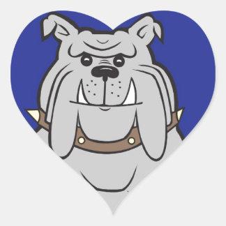 Mascota del dogo en estilo azul del diseño pegatina en forma de corazón