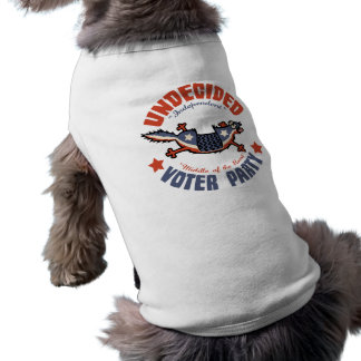 Mascota del fiesta del votante indeciso playera sin mangas para perro