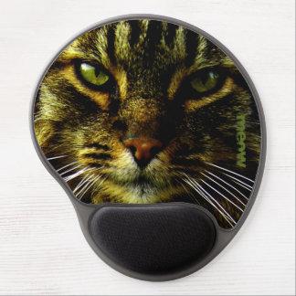 Mascota del gato que hipnotiza el texto de la foto alfombrilla de ratón con gel
