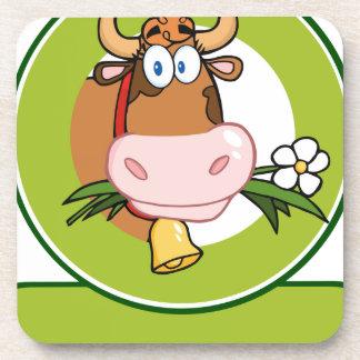 Mascota del logotipo del dibujo animado de la vaca posavaso