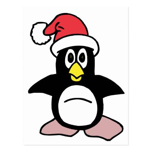 Mascota del pingüino de Santa Tarjetas Postales