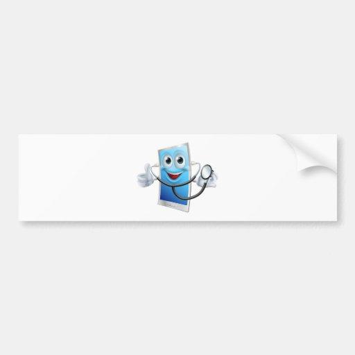 Mascota del teléfono del dibujo animado del esteto etiqueta de parachoque