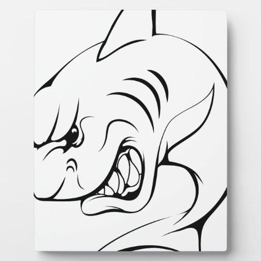 Mascota del tiburón placas para mostrar