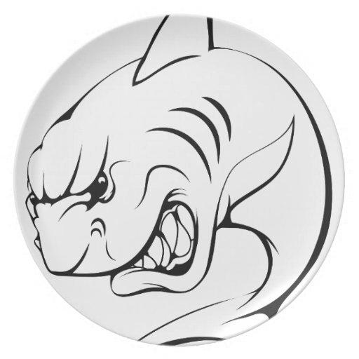 Mascota del tiburón platos para fiestas