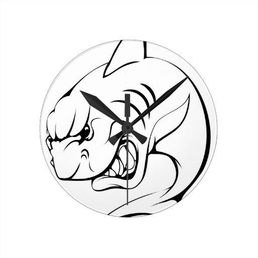 Mascota del tiburón relojes de pared