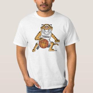 Mascota del tigre que juega a baloncesto camisas
