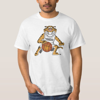 Mascota del tigre que juega a baloncesto playera