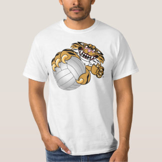 Mascota del tigre que juega a voleibol camisas