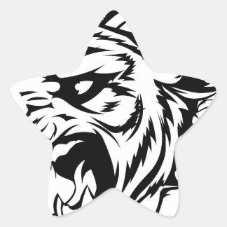 Mascota del tigre que se rompe a través de la calcomanía forma de estrellae