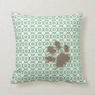 Mascota divertido; Floral azulverde y poner crema Cojín