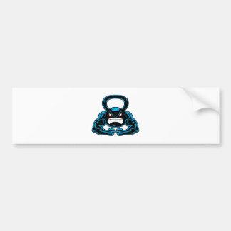 mascota enojada muscular del kettlebell pegatina para auto
