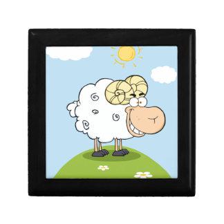 Mascota feliz del dibujo animado del espolón caja de recuerdo