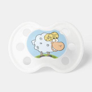 Mascota feliz del dibujo animado del espolón chupetes para bebés