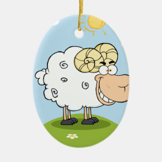 Mascota feliz del dibujo animado del espolón ornamento de navidad