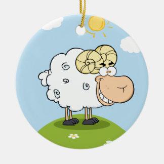 Mascota feliz del dibujo animado del espolón adorno de navidad